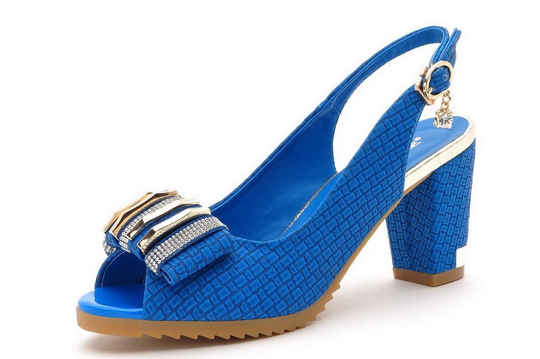 151-3 压花编织水钻粗跟女鞋 高跟鞋 休闲女凉鞋 蓝色 (35)
