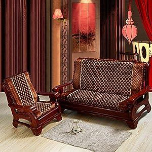 舒天乐 毛绒带靠背垫子红木沙发坐垫/实木沙发垫/加厚