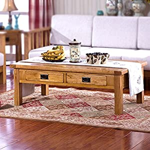 慕想 实木茶几橡木客厅家具现代欧式简约咖啡桌木质美式乡村茶桌带