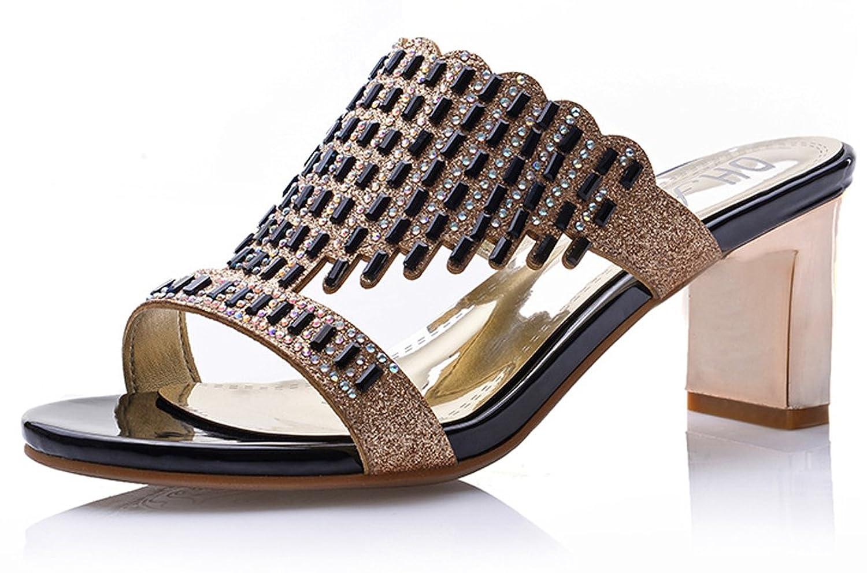精致水钻凉鞋 奢华唯美高跟休闲鞋 时尚粗跟鱼嘴鞋 清凉透气套脚凉拖