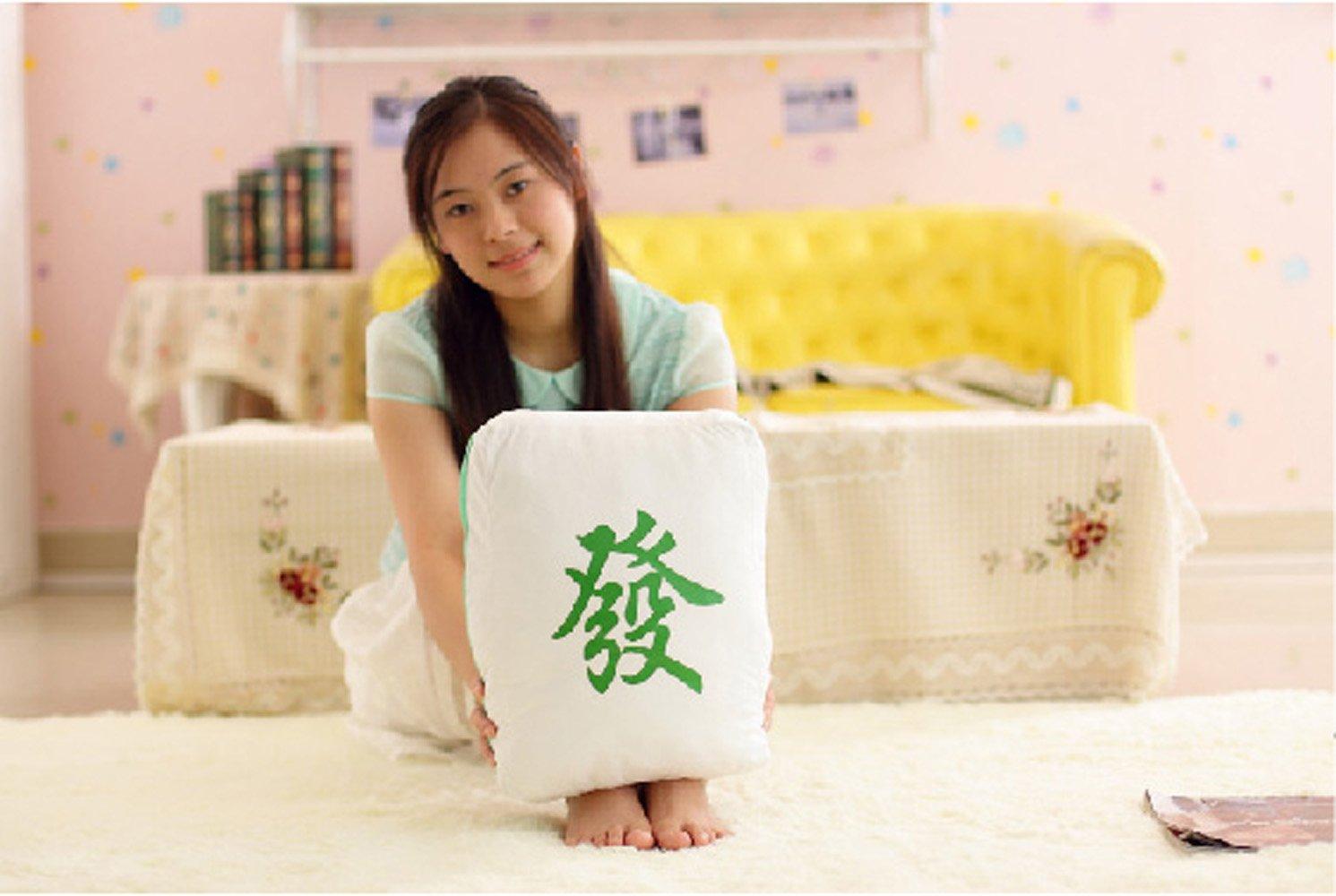 大眼猫 麻将特色创意抱枕 红中发财八万 中国风靠垫汽车靠垫创意玩具