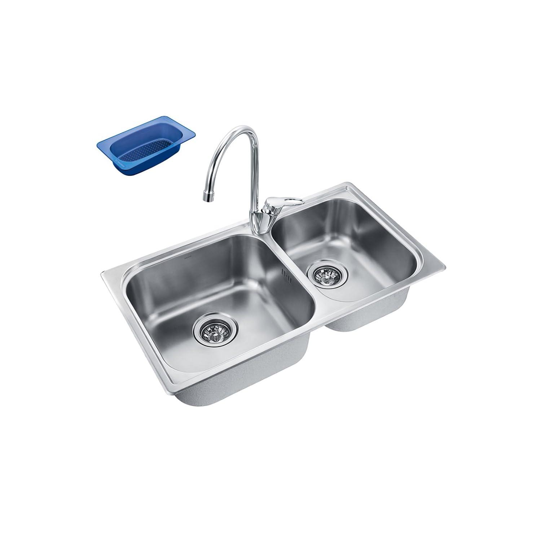 MOEN 摩恩进口304不锈钢水槽龙头套装 23610S+77111EC 送沥水篮 ¥799-60