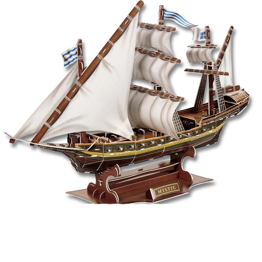 万木鑫 3d立体纸拼图神秘船 儿童益智创意礼品智力玩具