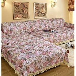 乐裁 浪漫花都田园沙发套提花印花布艺沙发罩欧式全盖沙发巾 (180*180