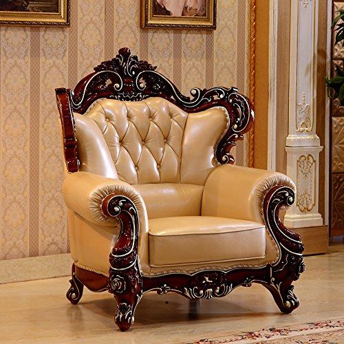 佳宜居 客厅奢华欧式实木真皮沙发 高档美式大户型雕花客厅实木沙发组