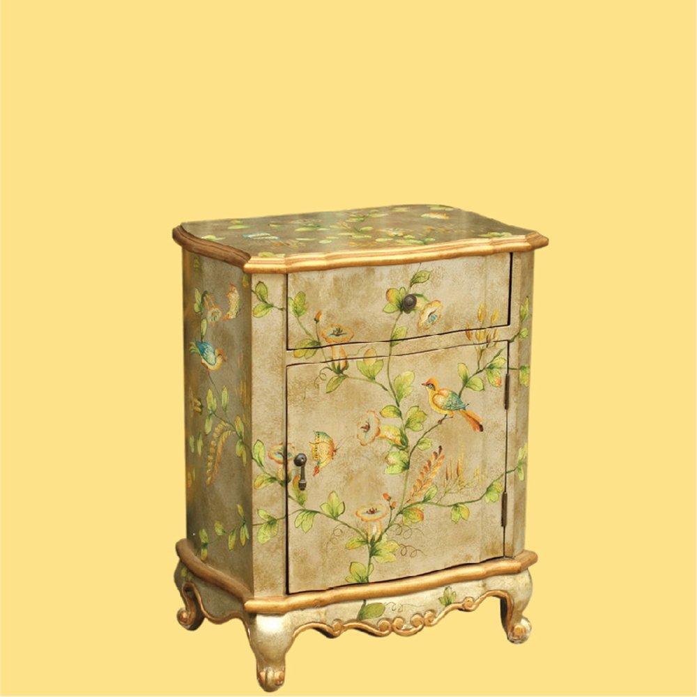 鱼西美屋 新古典欧式华丽金色手绘田园卧室床头柜边柜
