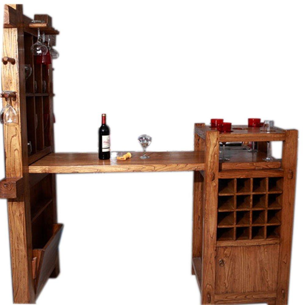 百林坛 欧式实木酒柜酒架组合吧台 门间厅隔断家具简约 原木色餐厅红
