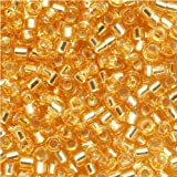 Miyuki DB042 7.2gm Delica Seed Beads, Size 11/0, Silver Lined Gold
