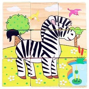 木头玩国 木制质六面画儿童拼图玩具 木制拼图儿童玩具 六面画班马