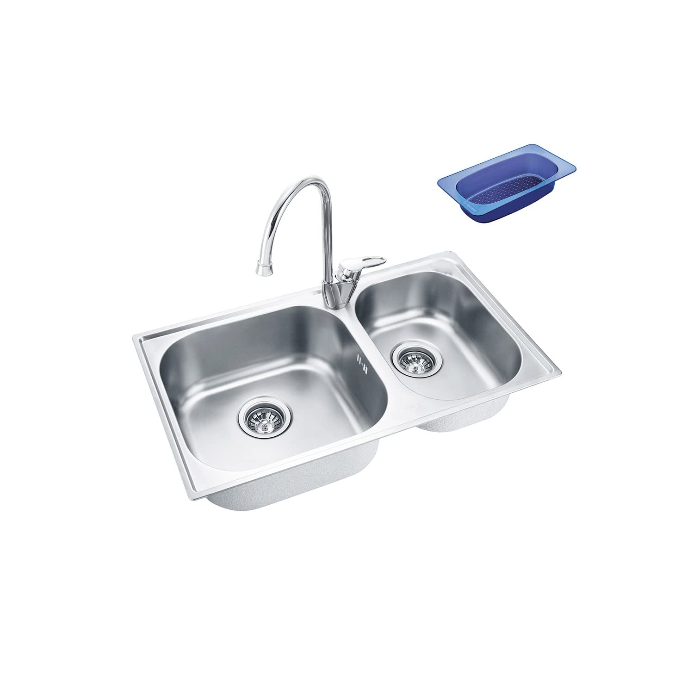 MOEN摩恩 进口304不锈钢加厚双槽水槽 28100S+66111送沥水篮 ¥699