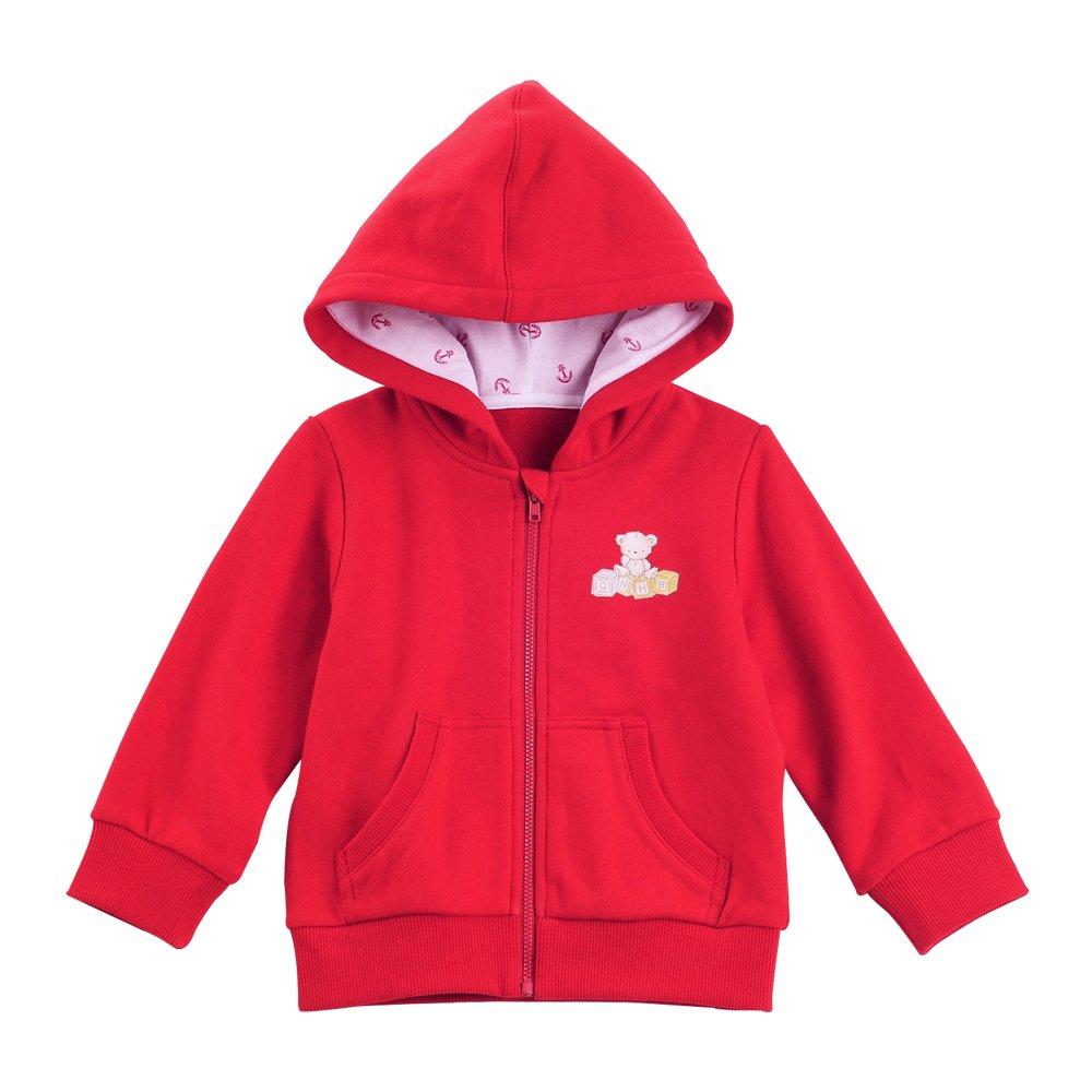 牵牛花 秋冬款男女童装棉质连帽卫衣 宝宝开衫卡通外套 (95cm, 红色)