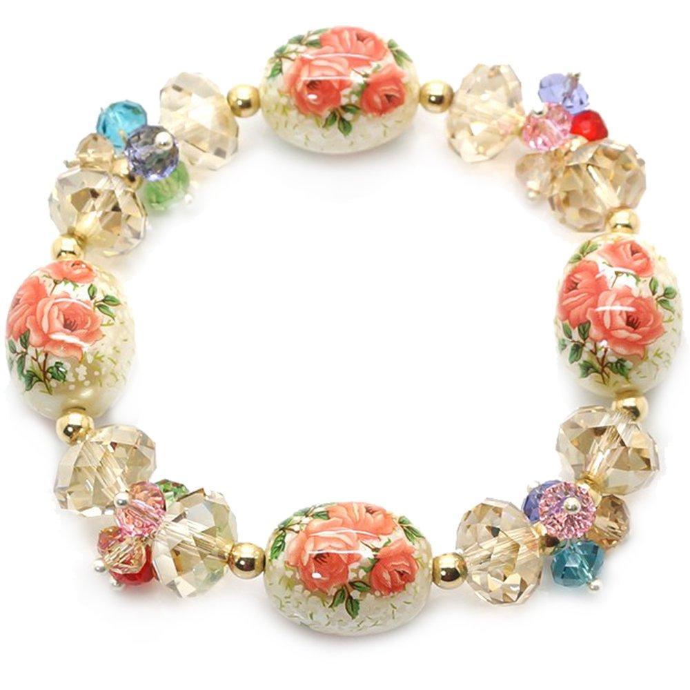 艾米瑟正品 奥地利水晶日本手绘珠 田园甜美手链手镯送女友礼物花缘一