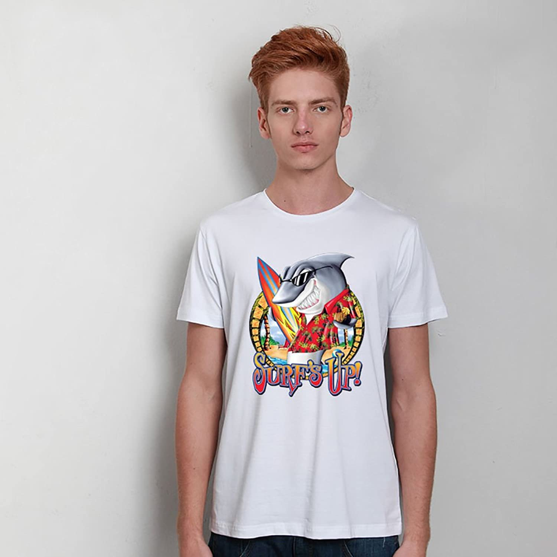 设计 创意卖萌鲨鱼男士印花t恤 3d立体图案莱卡短袖 dtdiy-0035 白