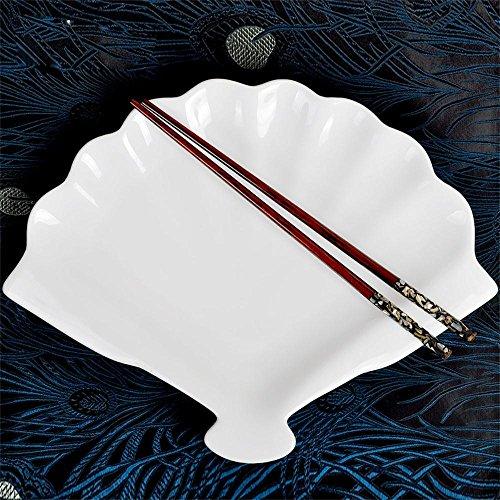吉祥家 新中式陶瓷创意餐具 知味>纯白色菜盘 扇形西餐盘牛排果盘