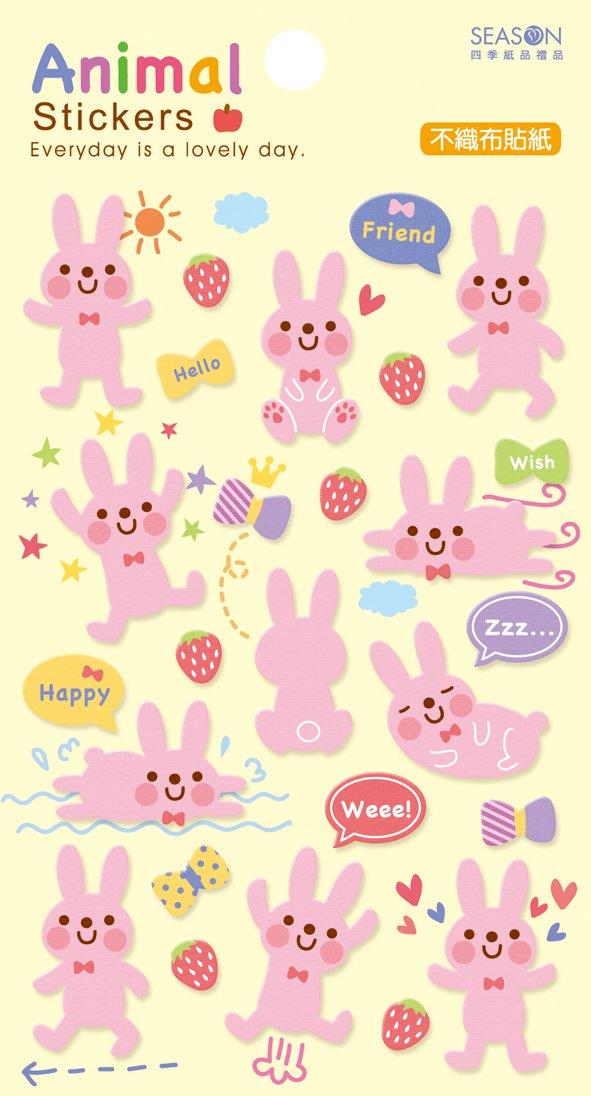 不织布贴纸-粉兔