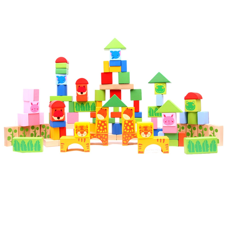 木玩世家100片动物森林益智积木 bhw051 玩法多 性价高