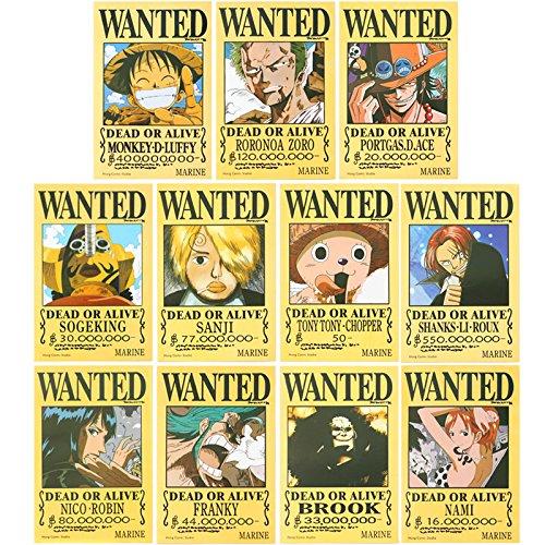 甜蜜城堡 航海王海贼王通缉令悬赏令海贼王海报全套高品质版 (大号 约