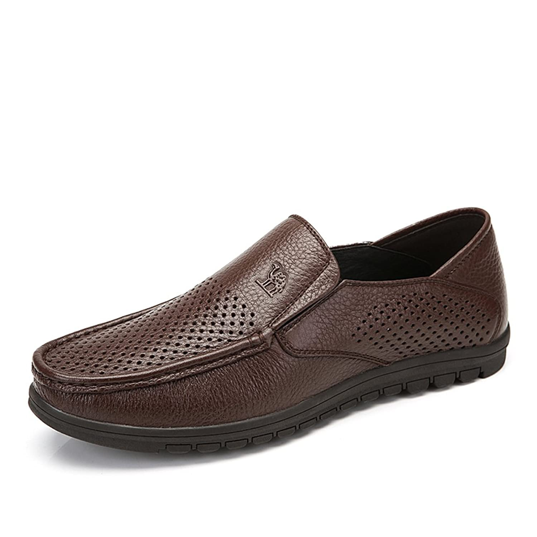Camel 骆驼 男鞋 镂空透气套脚懒人鞋 春季新款头层牛皮休闲板鞋A422272004