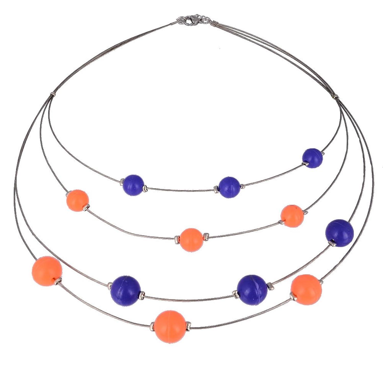 kadima 加地曼弹力绳项链 手工编织 时尚个性 蓝色加橙色硅胶珠子 18