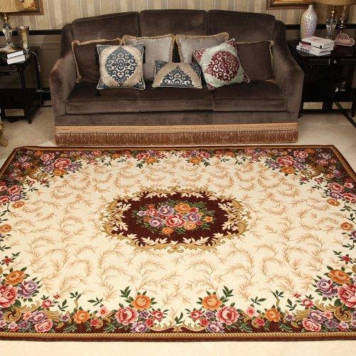客厅蓝美式地毯 卧室 床边毯 田园花朵薄地垫 欧式巴洛克咖啡客厅地毯