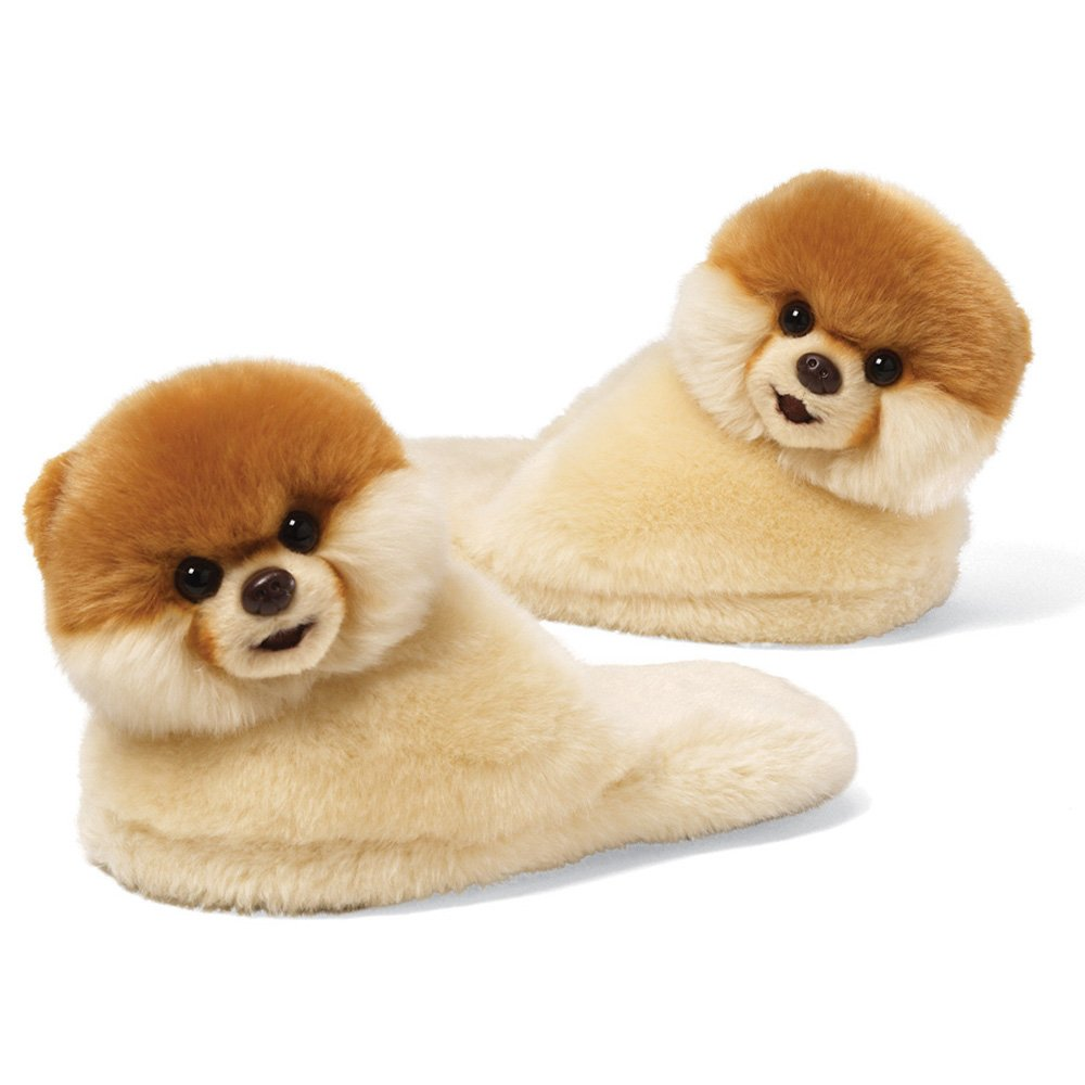 gund boo世界最可爱狗宝宝拖鞋 9 英寸 毛绒玩具, 尺寸单一