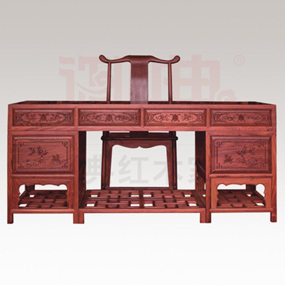 仙游御典红木家具 交趾黄檀中式办公桌两件套 老挝大红酸枝写字台