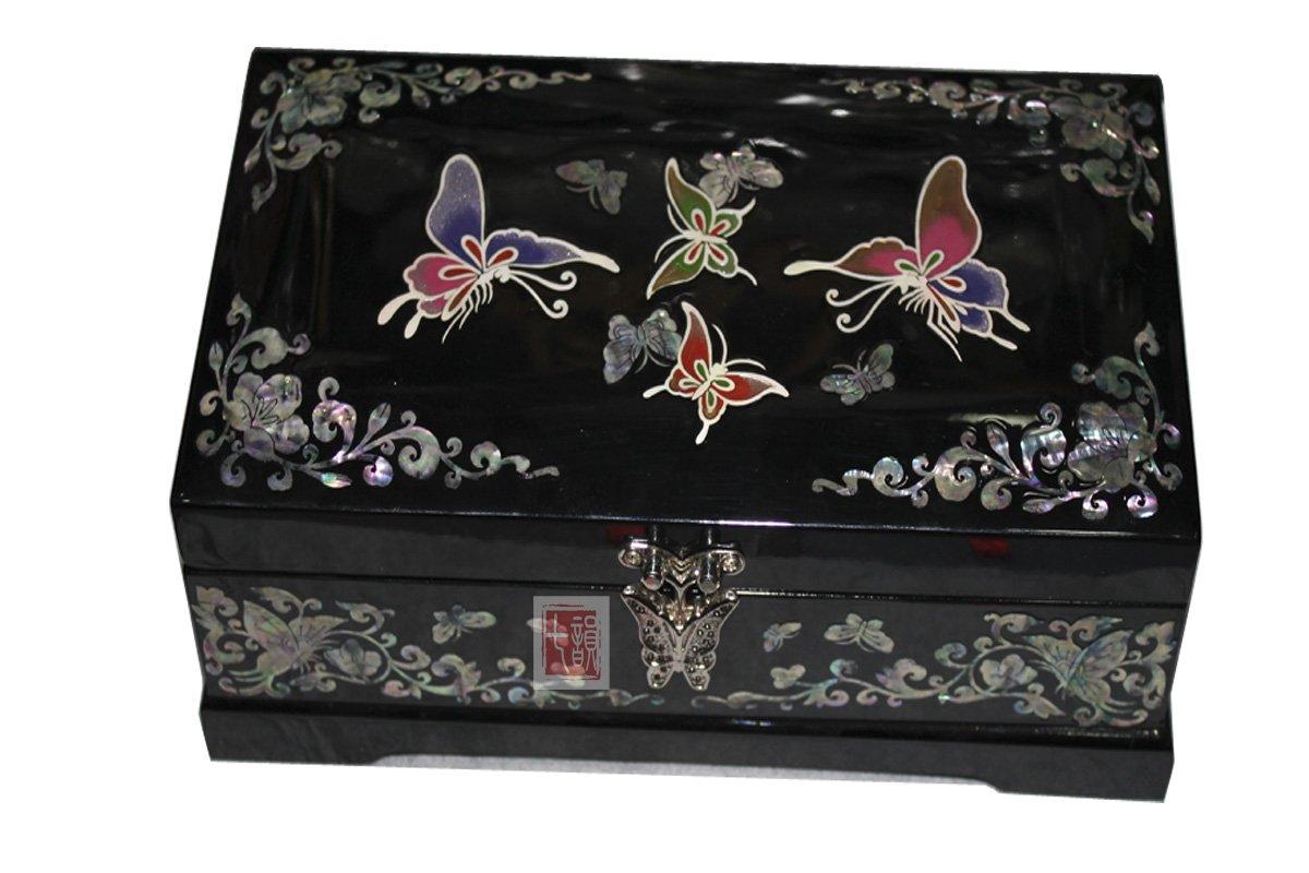 七韵 高档螺钿漆器首饰盒 鲍鱼贝镶嵌黑底梅花 扬州漆器首饰盒