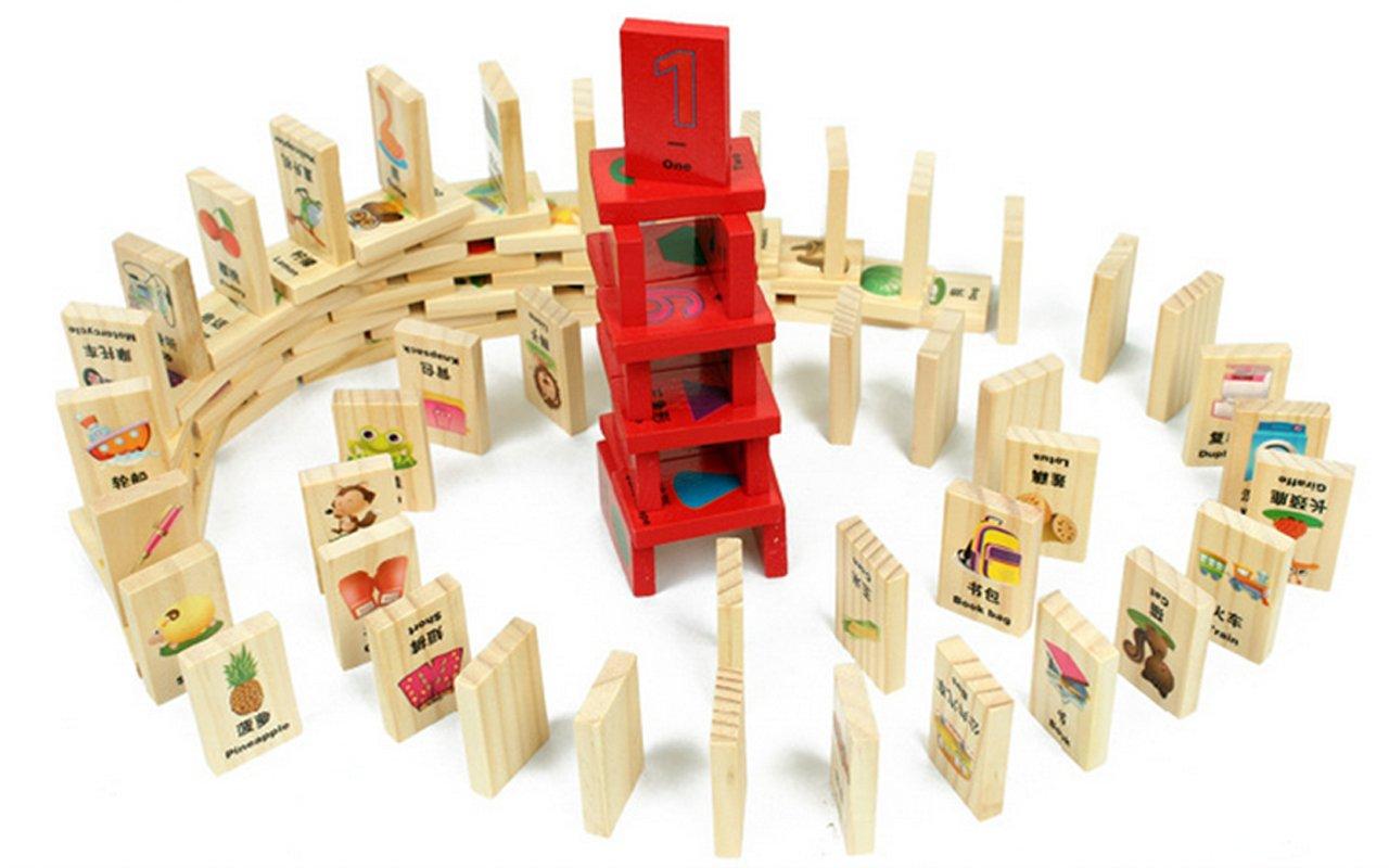 最新 知识多米诺 骨牌100片 儿童益智玩具 双语认物识字 早教必备图片