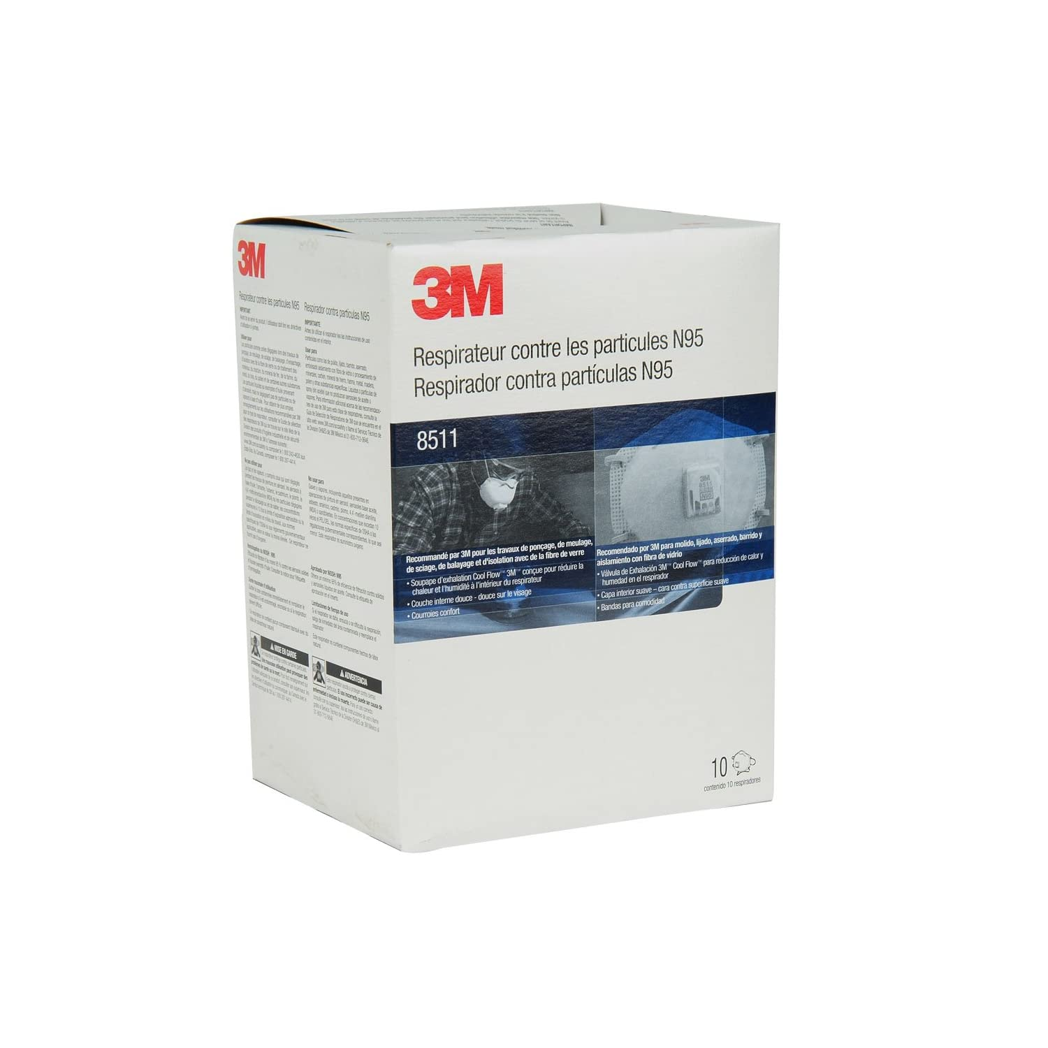 3M 8511 Particulate Sanding N95 Respirator with Valve, 10-Pack 口罩 $14.05(17.56*0.8)
