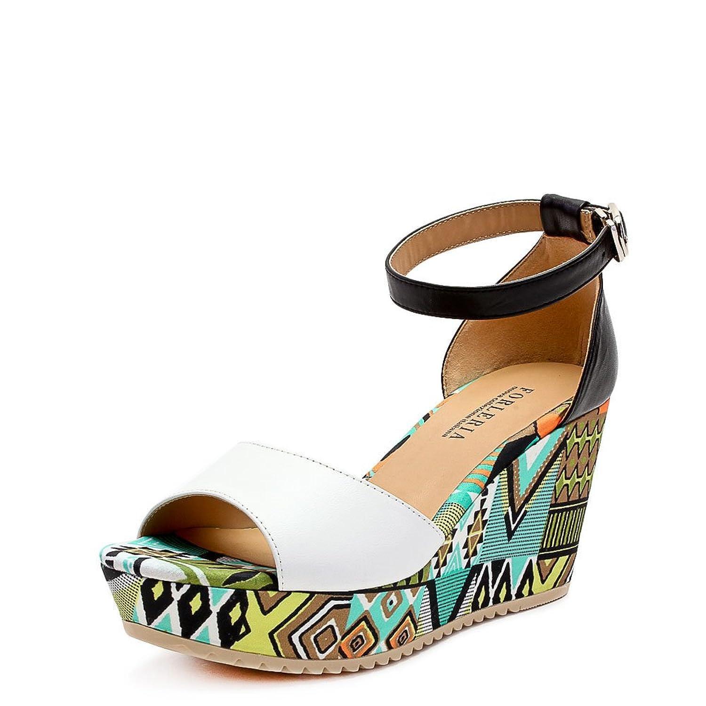 walker shop 奥卡索 forleria 凉鞋时尚休闲民族风坡跟羊皮女凉鞋