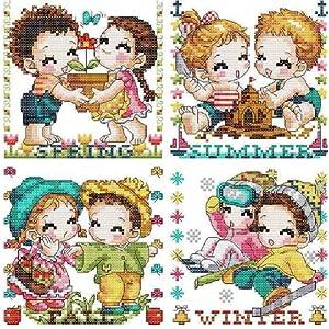 万众家园 十字绣 客厅卧室人物画 可爱卡通 四季情侣