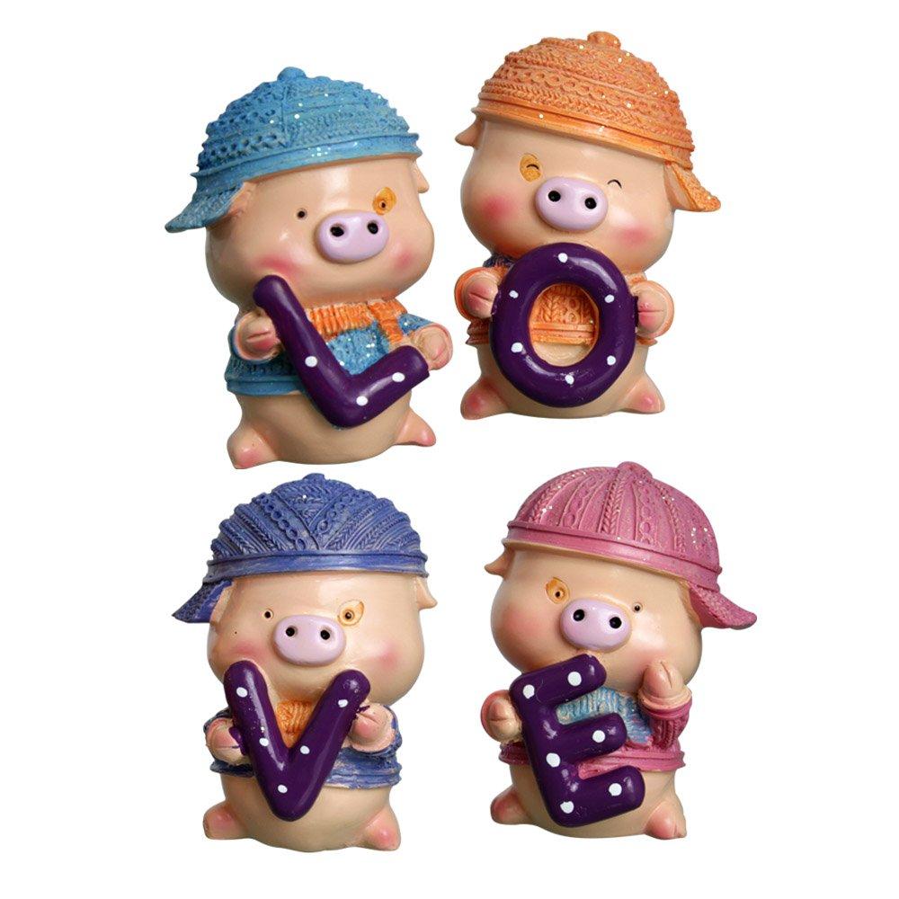 小孩子玩具 树脂工艺品 儿童节礼物 带包装盒子 一套四件 彩色麦兜一