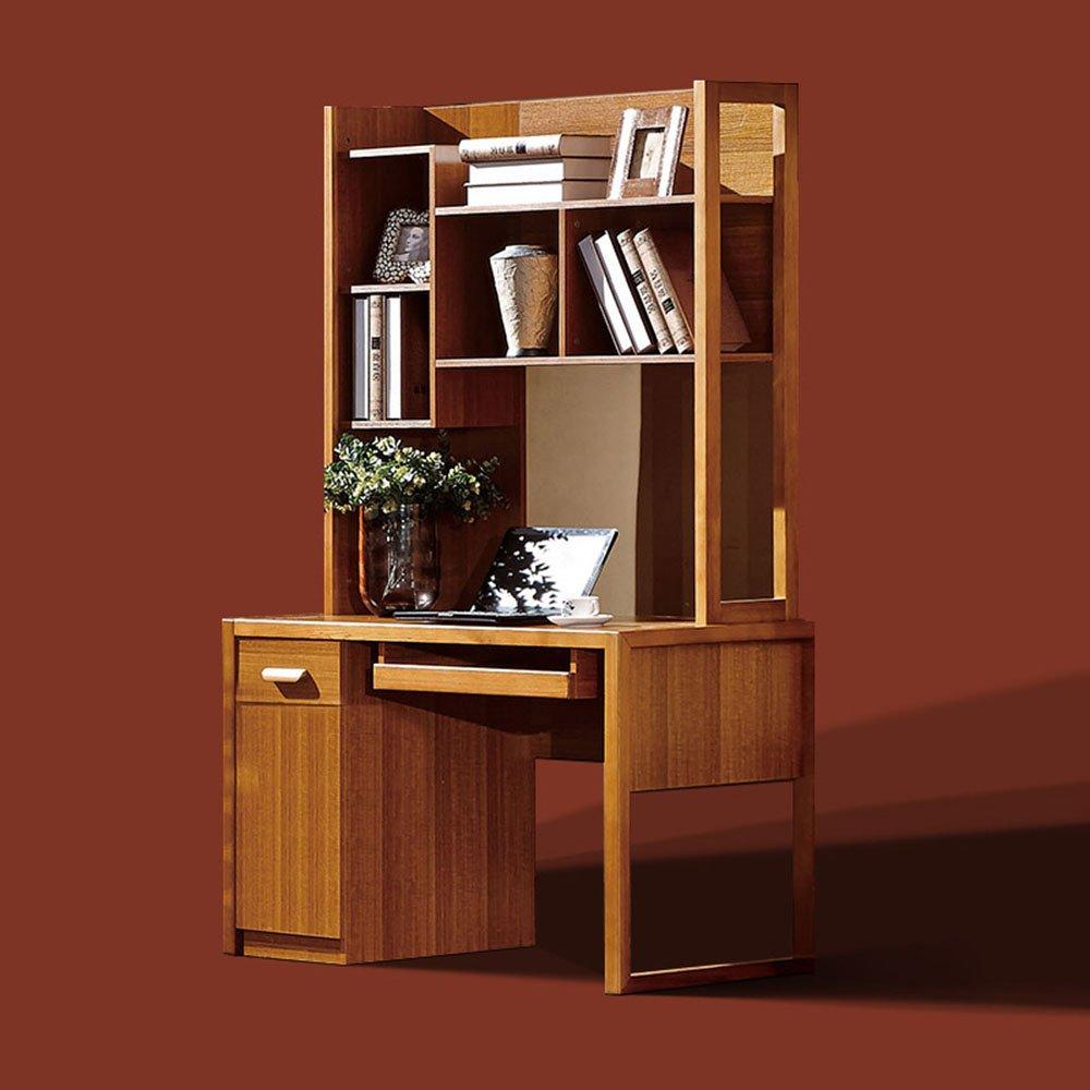 御品工匠 实木电脑桌带书架 组合 榆木家具 家用办公桌 写字台 电脑桌