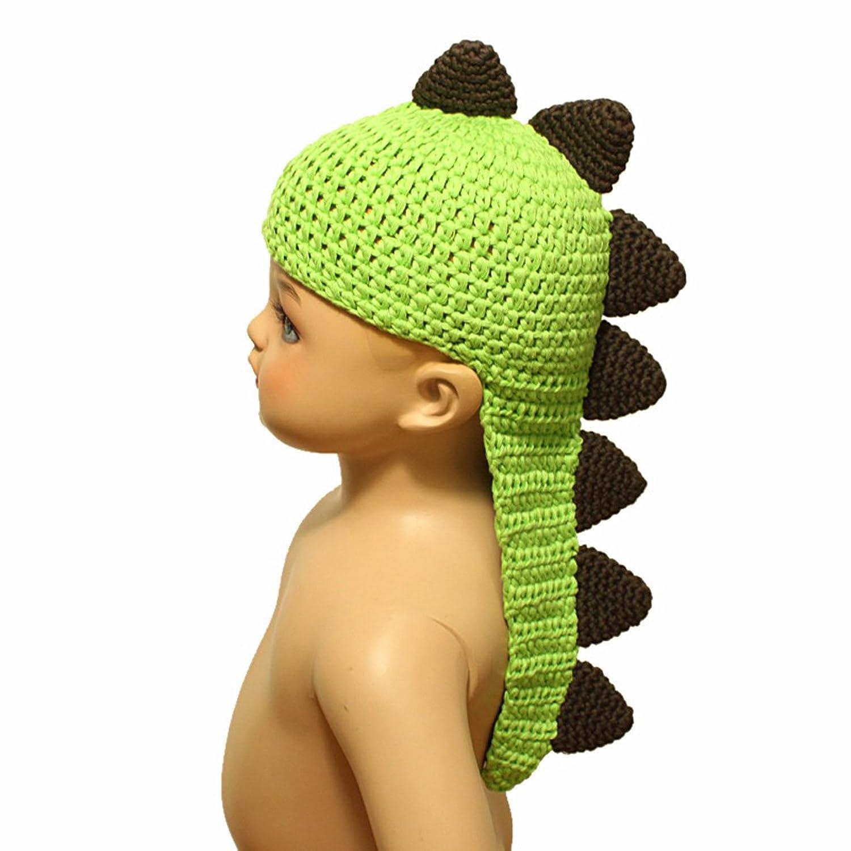 外贸热销婴儿恐龙帽 软豆豆帽 婴儿羊绒帽 手工钩针针织帽 (绿色 咖啡