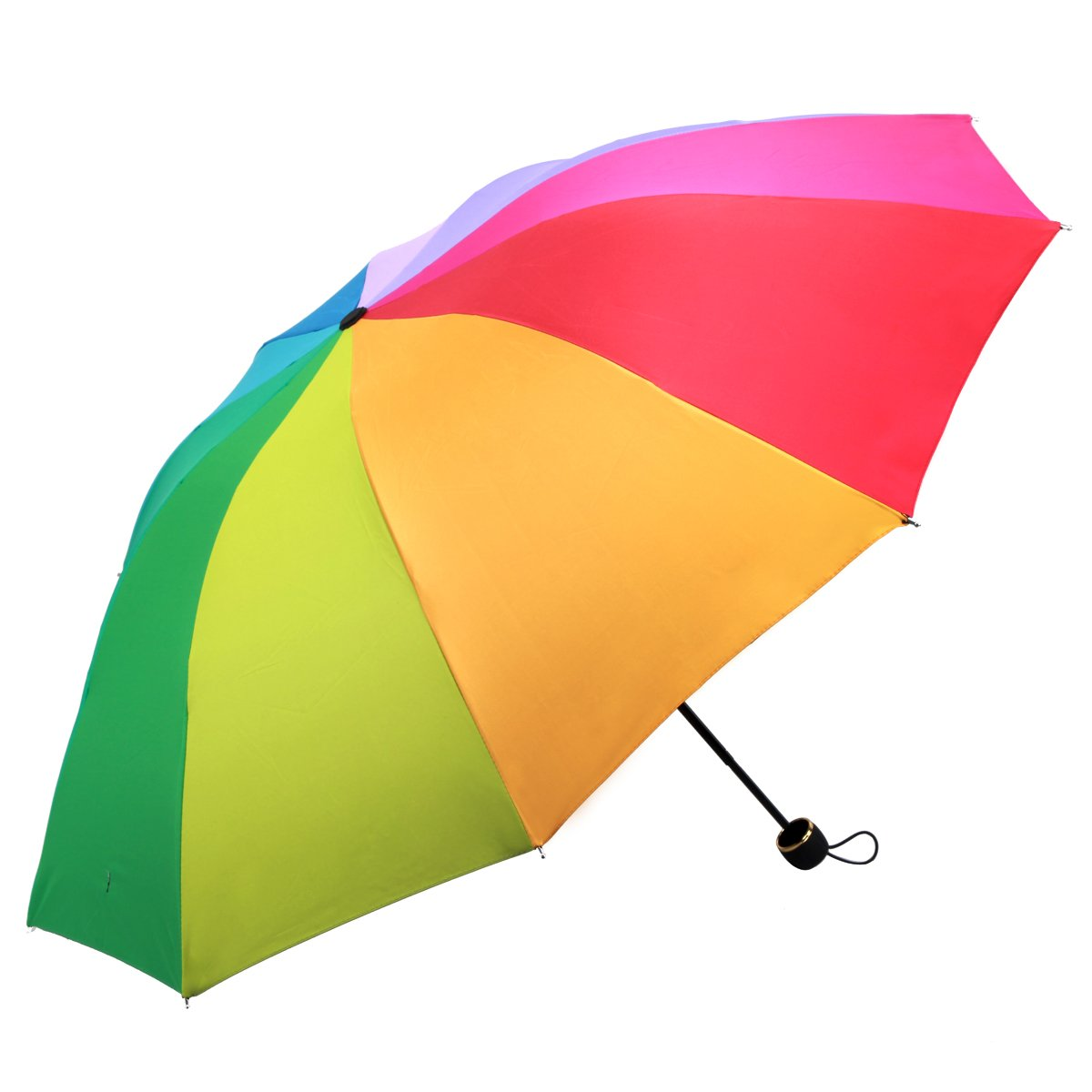 创意晴雨伞遮阳伞太阳伞1302(10骨黑胶防晒彩虹伞)
