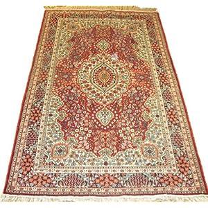 亨利达 高档纯手工打结真丝地毯,经典波斯地毯91cm*153cm,茶几地毯,床榻地毯,洋气红色