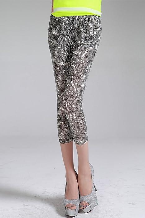 性感蕾丝花纹素描印染时尚舒适韩版气质百搭流行色小脚休闲七分裤