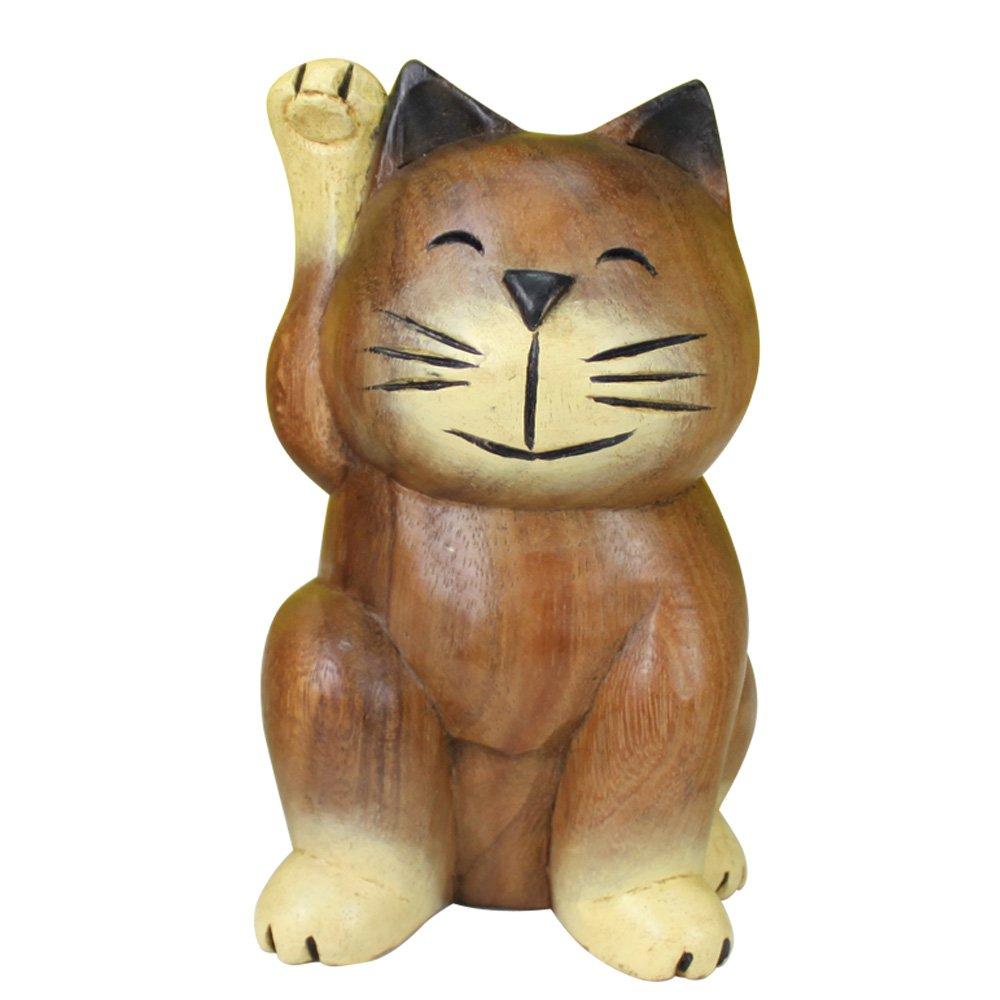 菩提木招财猫 北欧风情 手绘木质可爱猫 招财摆件 摆设 招手猫 办公