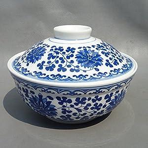 御豪 景德镇陶瓷餐具青花玲珑蝴蝶花 盖碗菜 碗图片