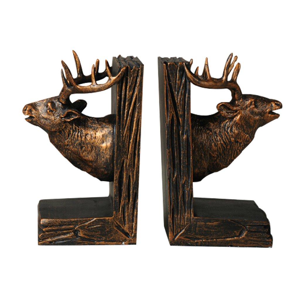 欧式复古创意 鹿头书靠架书立书挡家居装饰品桌面摆件