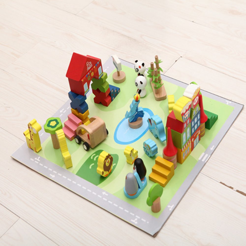 幼教 幼儿园 儿童 益智 积木 搭建类 玩具 城市 积木 系列 动物园