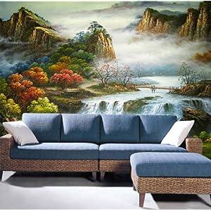 大型壁画油画;; 捷盛美大型壁画客厅沙发电视背景墙 风景  油画 温馨