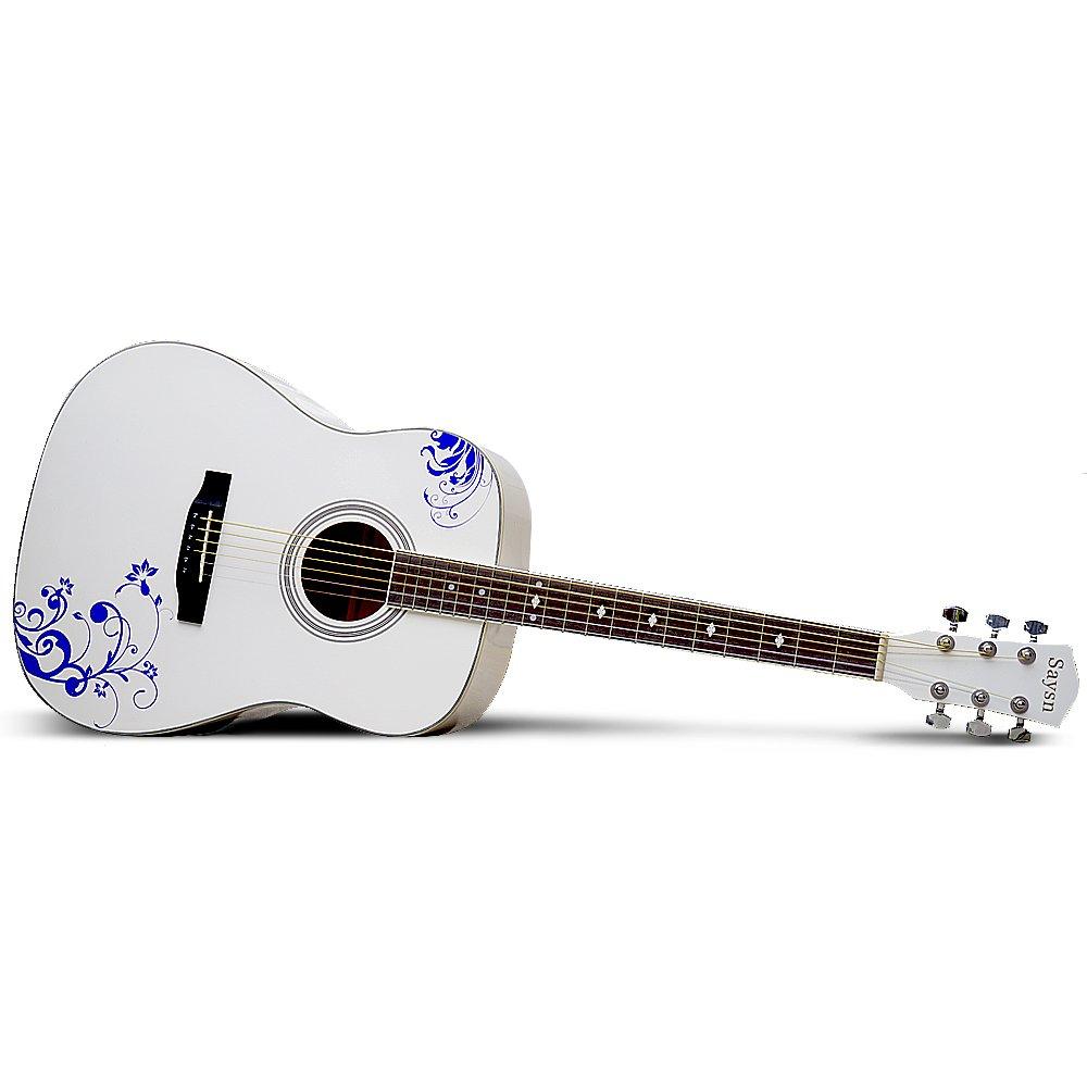 season 思雅晨 41寸白色民谣吉他-青花瓷(配包,拨片,背带,指甲磨,调节