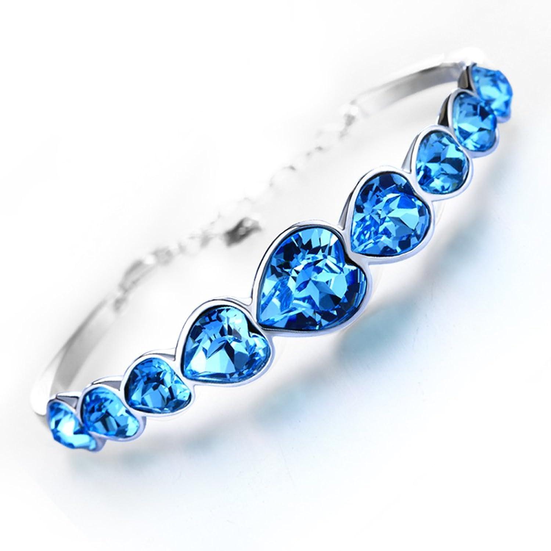 银缘美 925纯银手链女 施华洛世奇水晶手链生日礼物 心形时尚手链