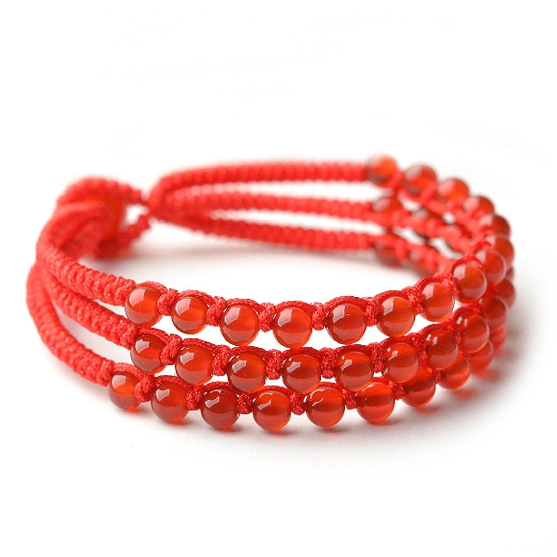 倩驰 天然红玛瑙三生绳编织手链 本命年特供 纯手工编织 情人节礼物