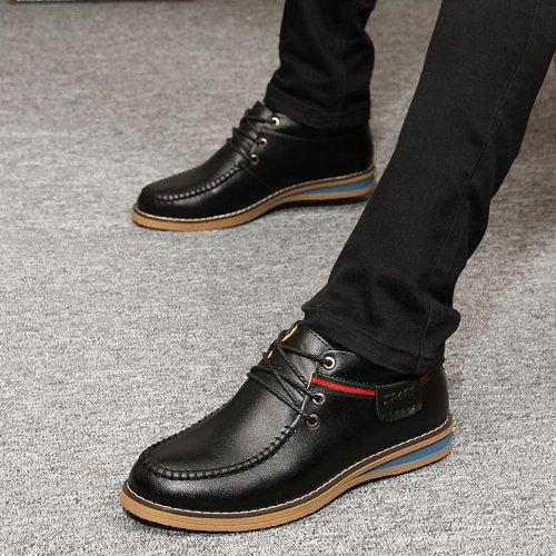 Yulu 优牛 时尚潮流英伦商务休闲皮鞋真皮高帮男鞋正装系带皮鞋