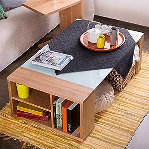 木头公园现代简约北欧客厅赤桦木实木玻璃台面茶几 浅