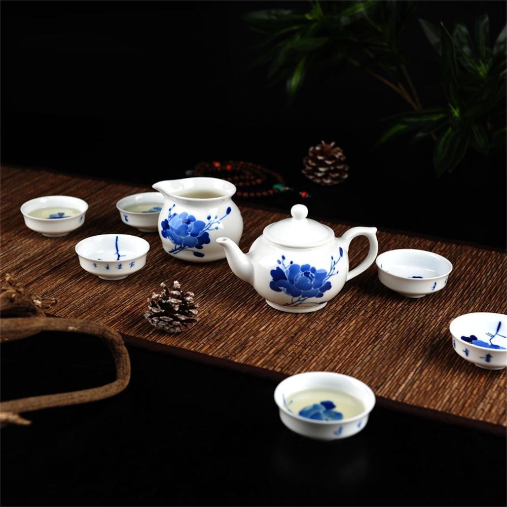 吉祥家 新中式青花瓷茶具套装<满庭芳>手绘牡丹花茶壶茶杯 八
