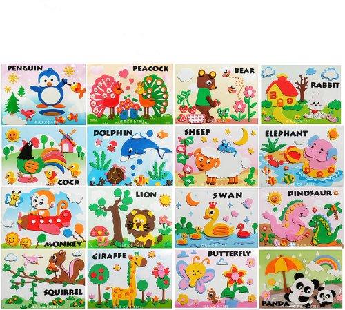 儿童手工制作eva贴画 泡沫3d立体粘贴画立体画 儿童贴纸玩具 黑妞动物