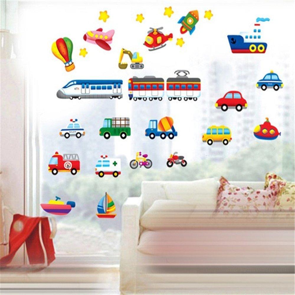 crossman 小汽车 卡通汽车 幼儿园背景墙贴画 环保可移除墙贴 彩色